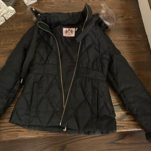 juicy Couture ruffle jacket with fur lined hood